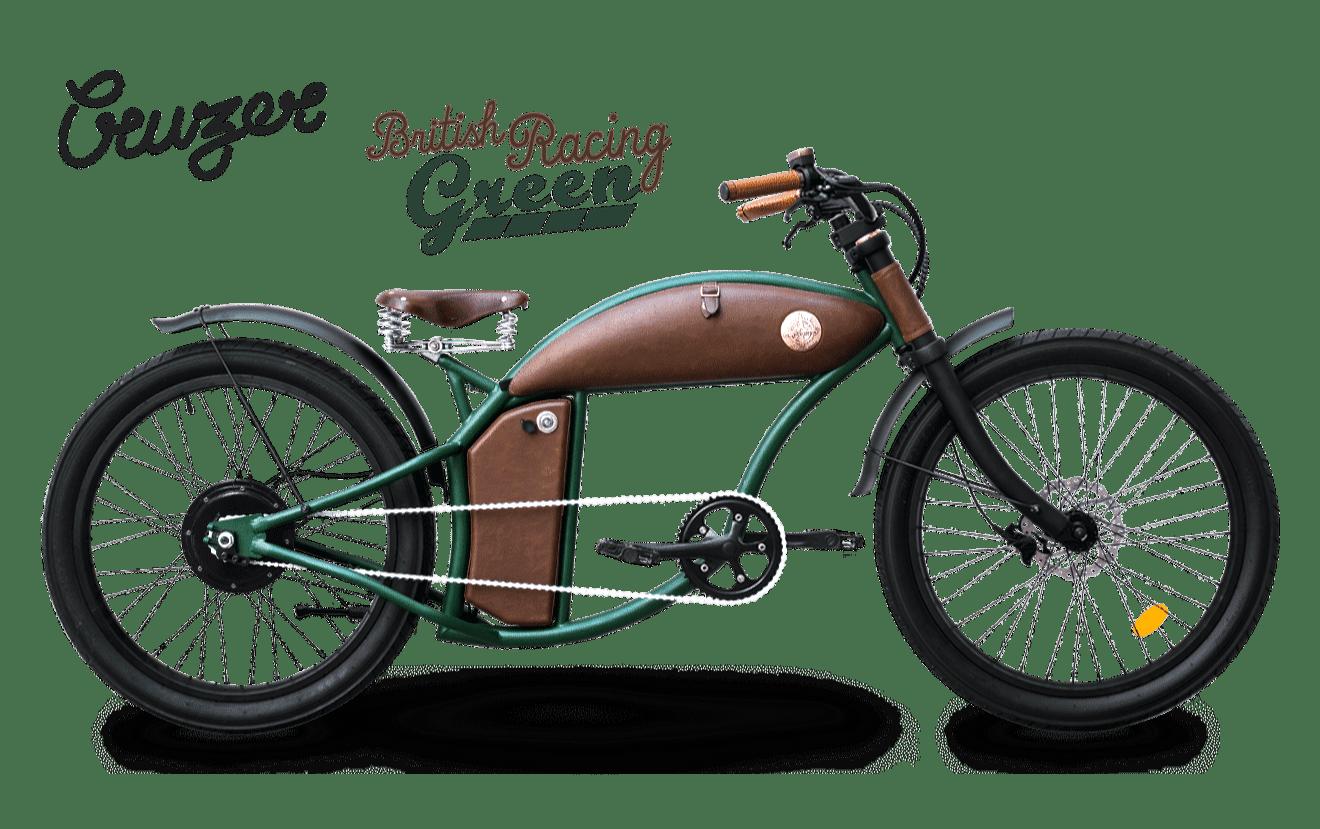 Rayvolt stoere elektrische chopper fiets Cruzer 45km/u groen M standaard accu
