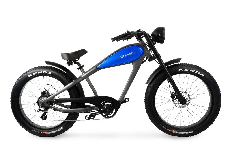 Elektrische Chopper fiets fatbike Varaneo Cafe Racer blauw
