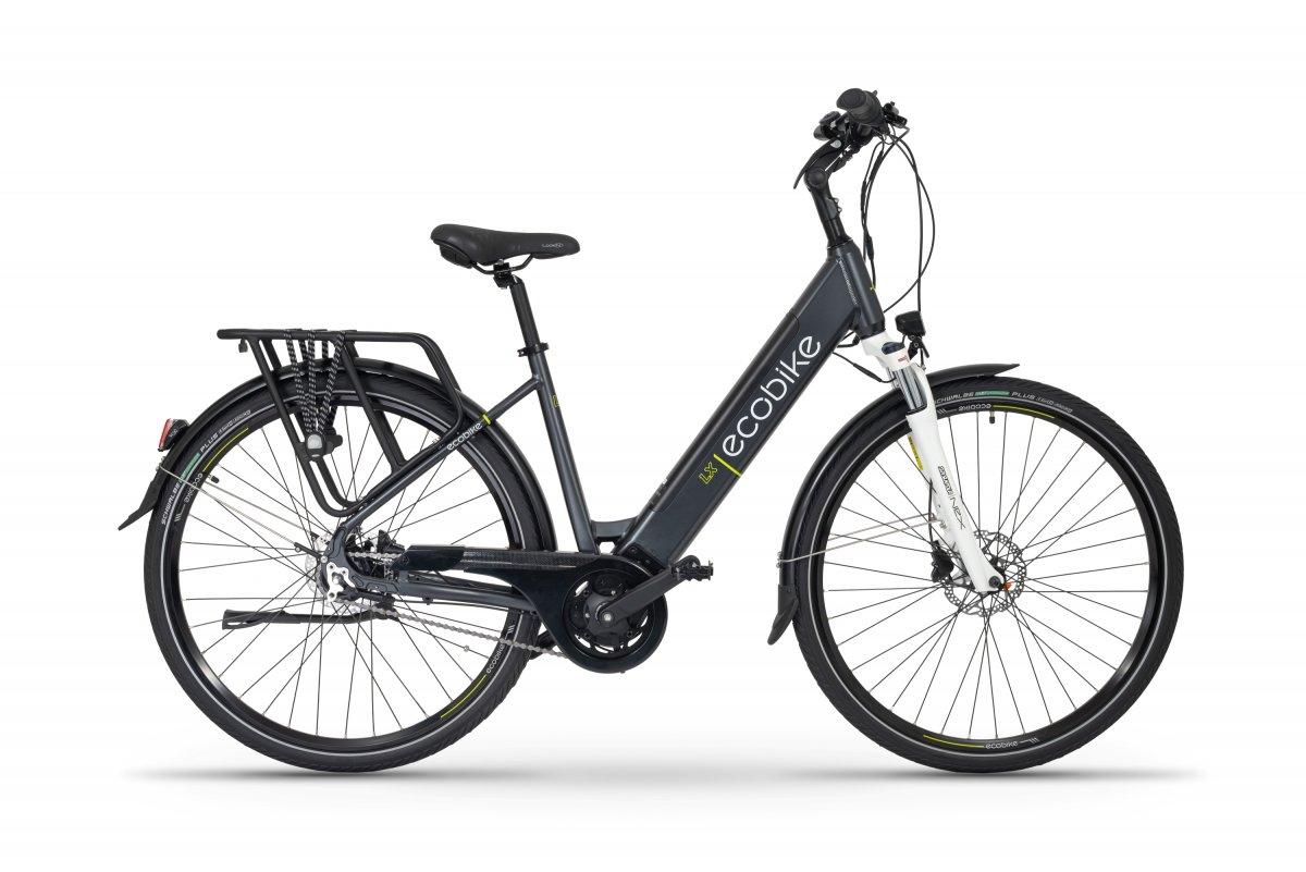 Elektrische Dames Fiets Middenmotor 28 inch met lage instap Ecobike LX Donkerblauw 500Wh