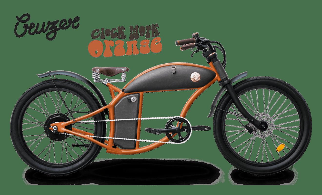 Rayvolt stoere elektrische chopper fiets Cruzer 45km/u oranje M standaard accu