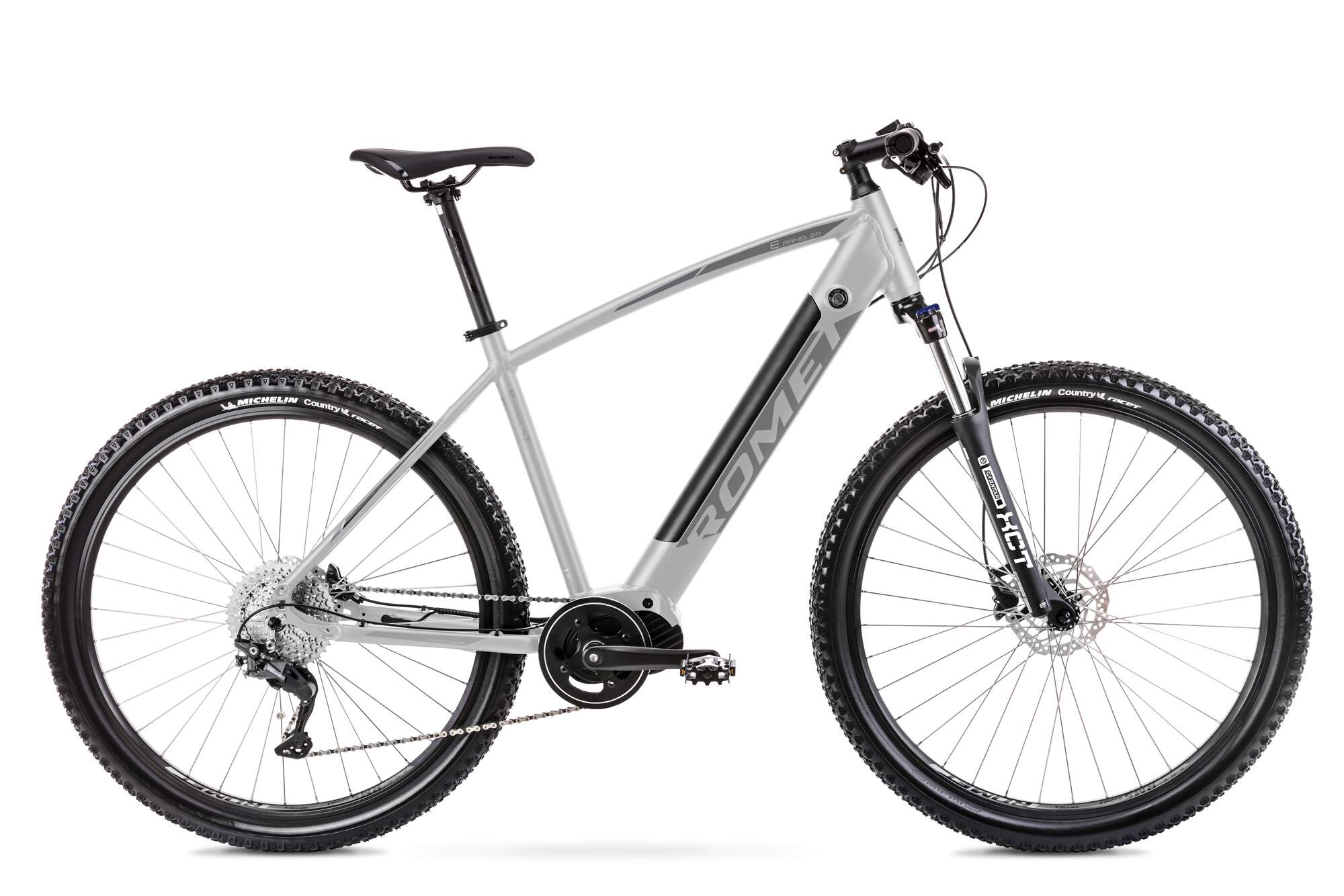 Elektrische Mountainbike Middenmotor Romet E-Rambler 18Inch Zilver